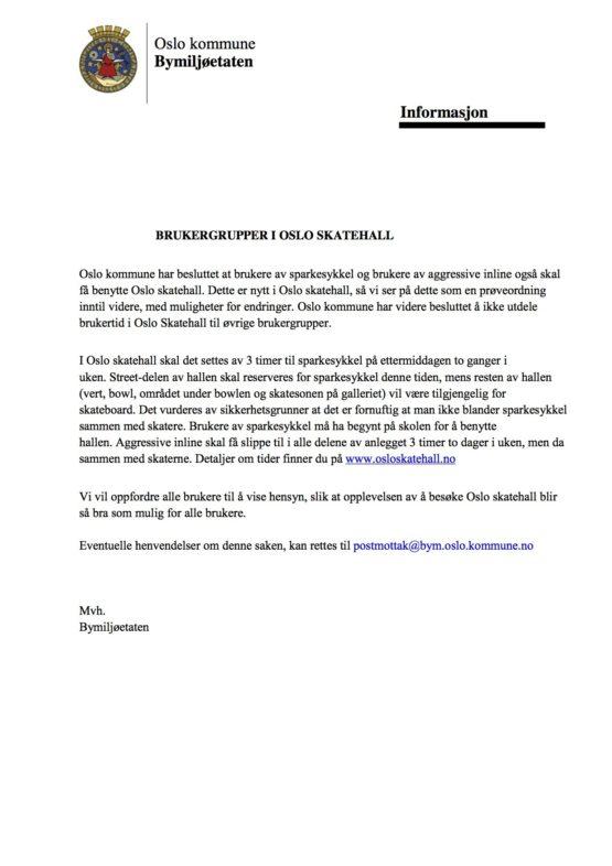 Informasjon Om Oslo Skatehall Bym